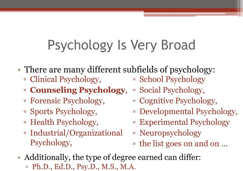 School Psychology Social Psychology, Cognitive Psychology, Developmental Psychology, Experimental Psychology