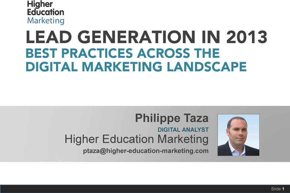 Philippe Taza DIGITAL ANALYST Higher