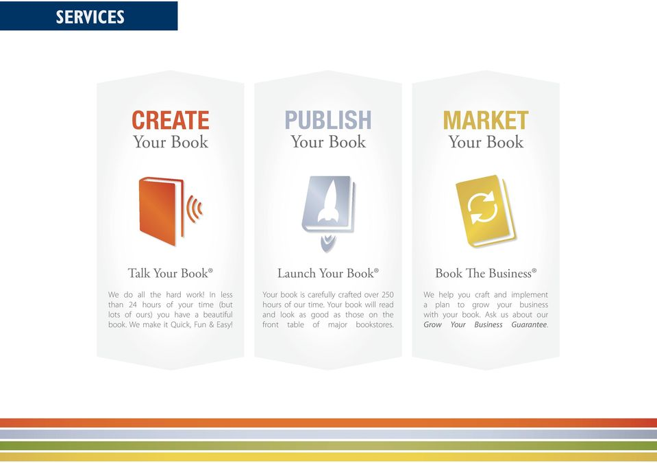 Launch Your Book Your book is carefully crafted over 250 hours of our time.