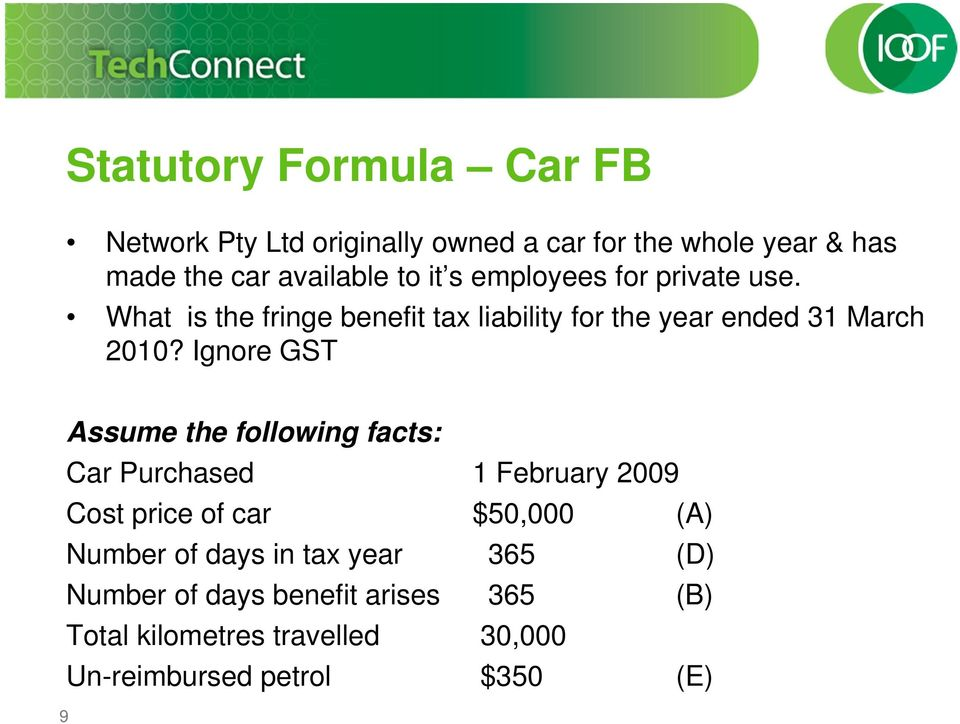 Ignore GST Assume the following facts: Car Purchased 1 February 2009 Cost price of car $50,000 (A) Number of days