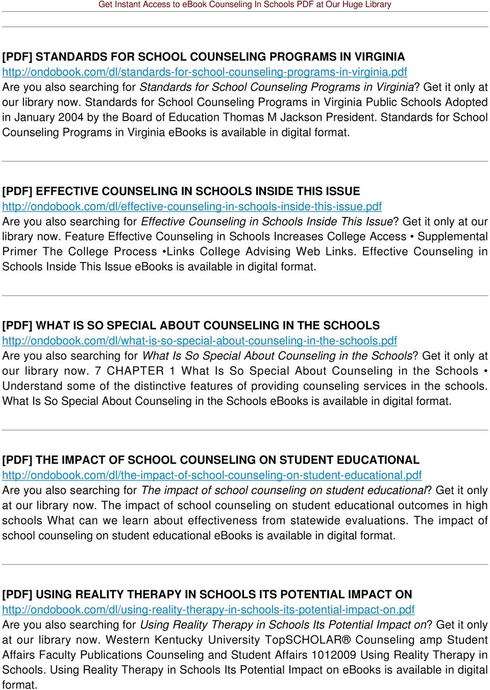 Standards for School Counseling Programs in Virginia Public Schools Adopted in January 2004 by the Board of Education Thomas M Jackson President.