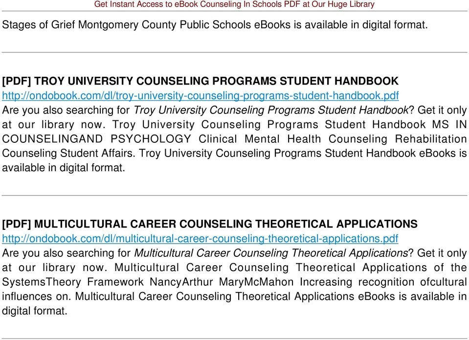 Troy University Counseling Programs Student Handbook MS IN COUNSELINGAND PSYCHOLOGY Clinical Mental Health Counseling Rehabilitation Counseling Student Affairs.