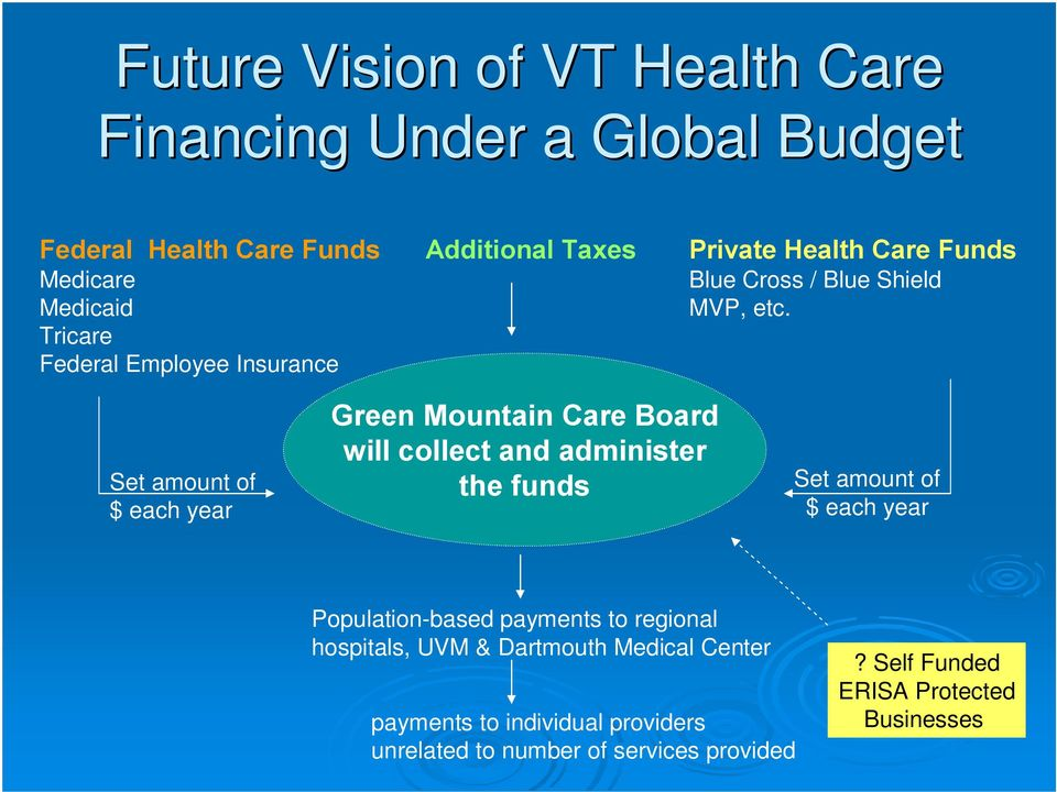 Set amount of $ each year Green Mountain Care Board will collect and administer the funds Set amount of $ each year Population-based