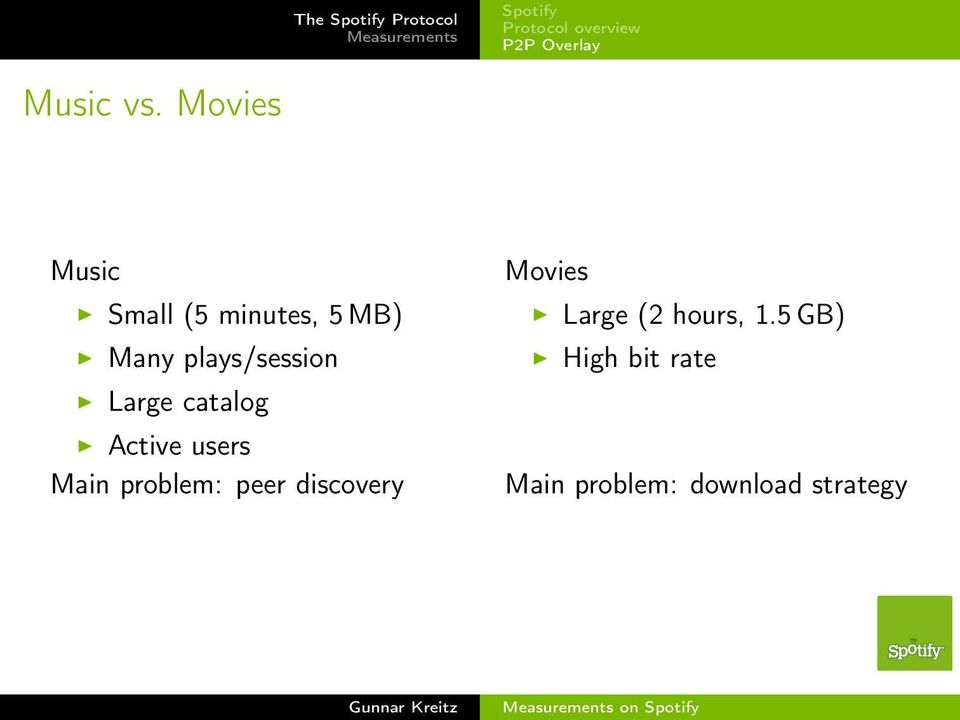 catalog Active users Main problem: peer discovery Movies