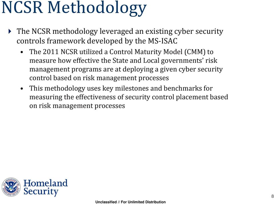 management programs are at deploying a given cyber security control based on risk management processes This methodology