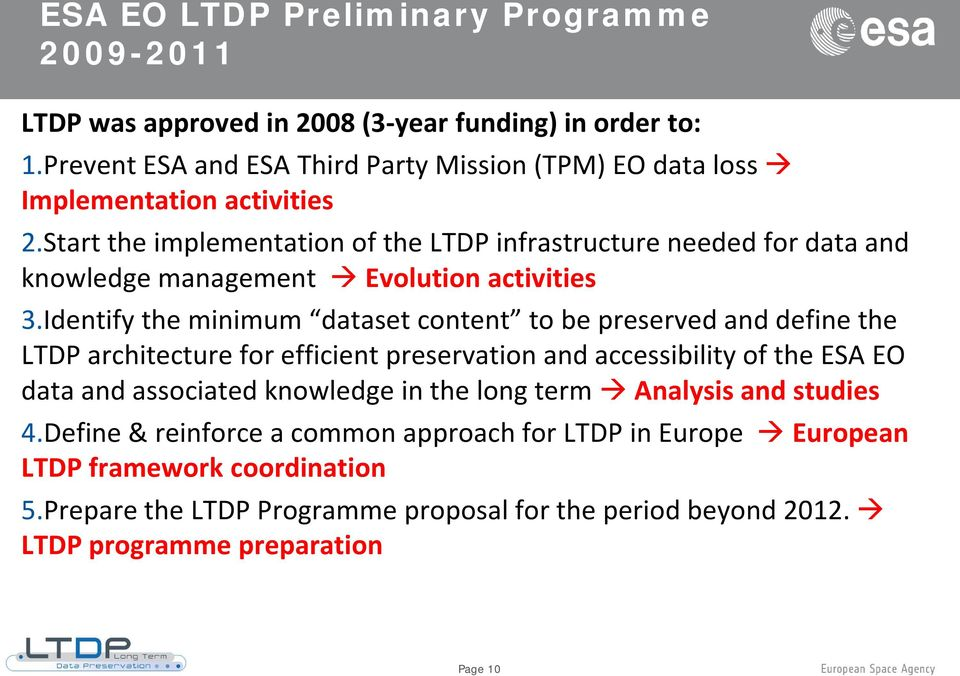 Start the implementation of the LTDP infrastructure needed for data and knowledge management Evolution activities 3.
