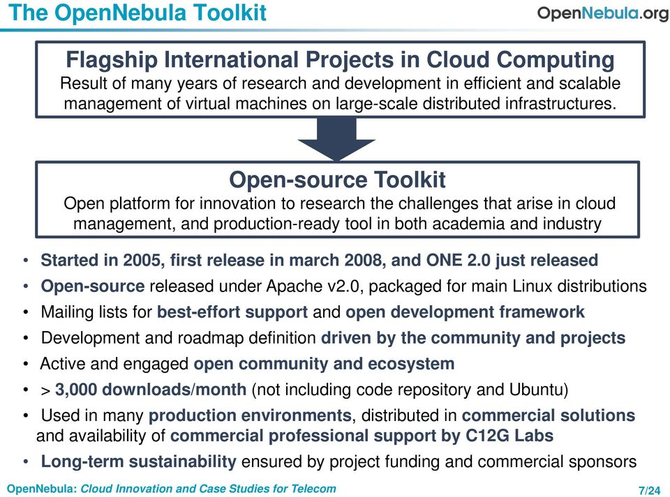 Open-source Toolkit Open platform for innovation to research the challenges that arise in cloud management, and production-ready tool in both academia and industry Started in 2005, first release in