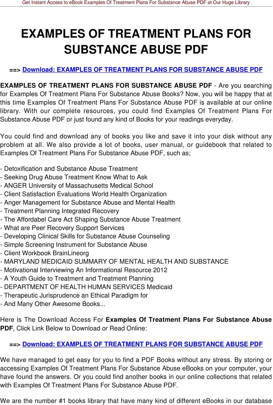 With our complete resources, you could find Examples Of Treatment Plans For Substance Abuse PDF or just found any kind of Books for your readings everyday.