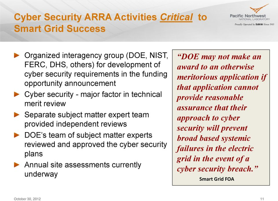 reviewed and approved the cyber security plans Annual site assessments currently underway DOE may not make an award to an otherwise meritorious application if that application cannot