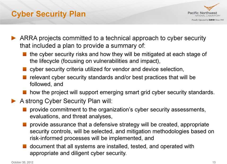 followed, and how the project will support emerging smart grid cyber security standards.