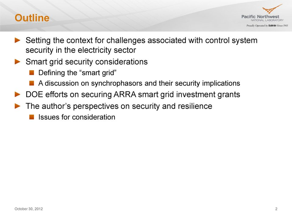 on synchrophasors and their security implications DOE efforts on securing ARRA smart grid