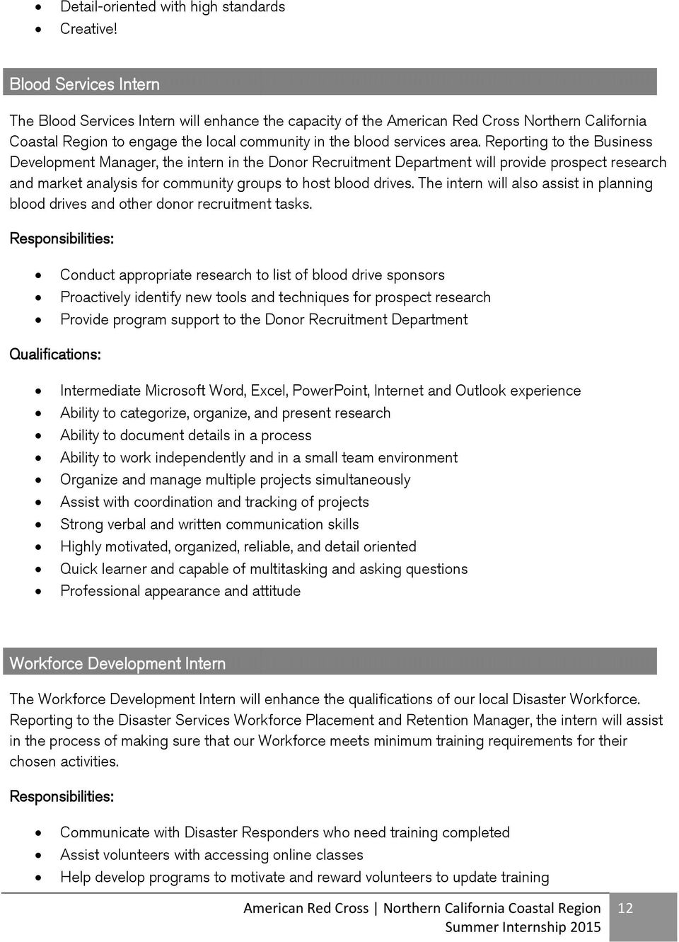 Reporting to the Business Development Manager, the intern in the Donor Recruitment Department will provide prospect research and market analysis for community groups to host blood drives.