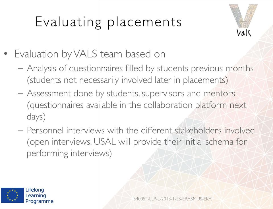 mentors (questionnaires available in the collaboration platform next days) Personnel interviews with the