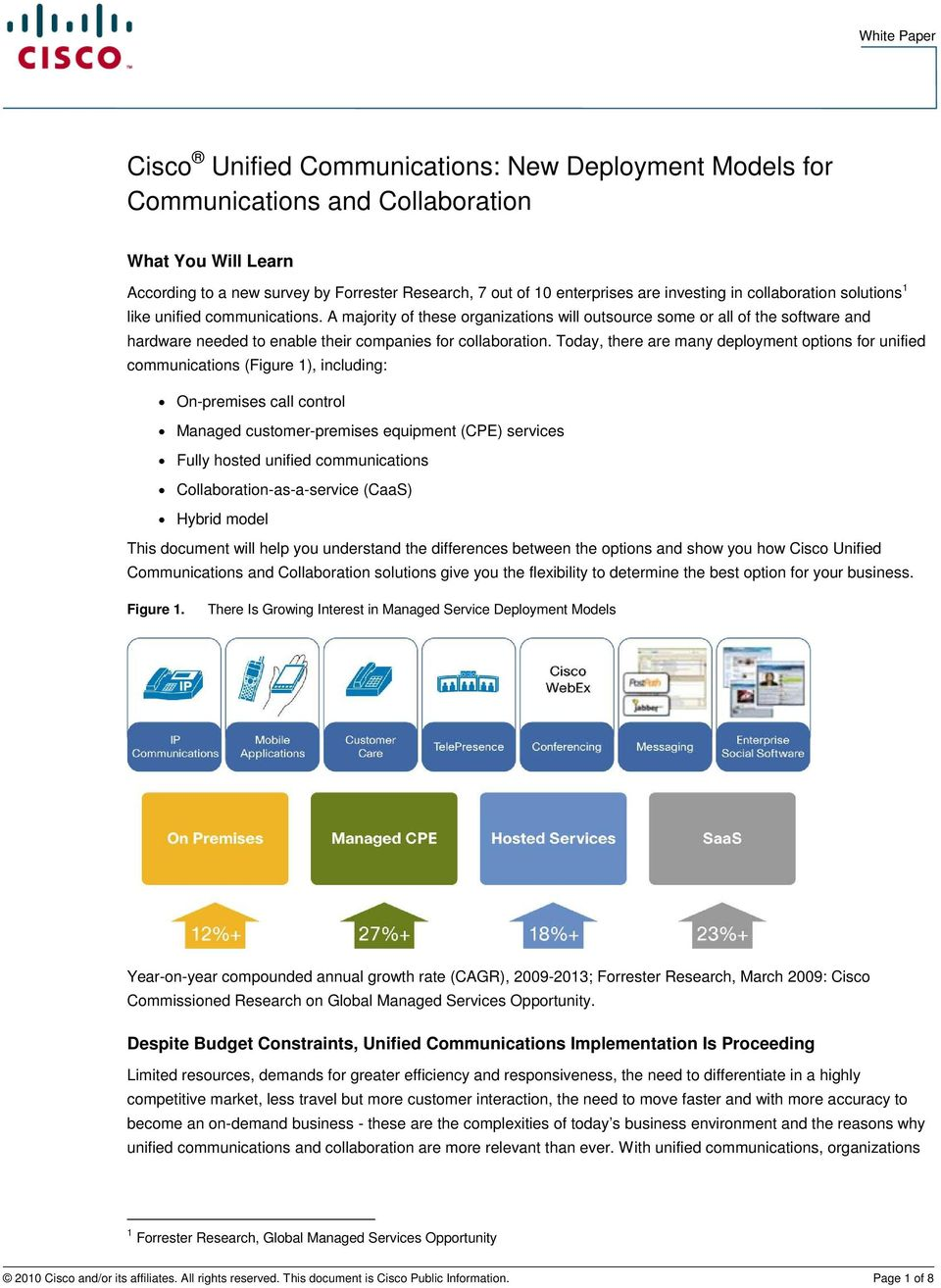 Today, there are many deployment options for unified communications (Figure 1), including: On-premises call control Managed customer-premises equipment (CPE) services Fully hosted unified