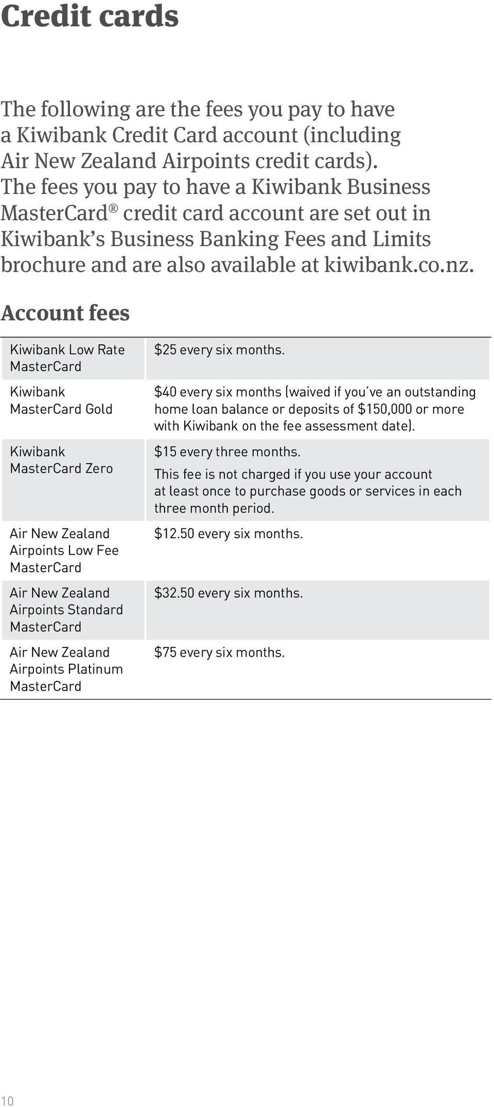 Account fees Kiwibank Low Rate MasterCard Kiwibank MasterCard Gold Kiwibank MasterCard Zero Air New Zealand Airpoints Low Fee MasterCard Air New Zealand Airpoints Standard MasterCard Air New Zealand