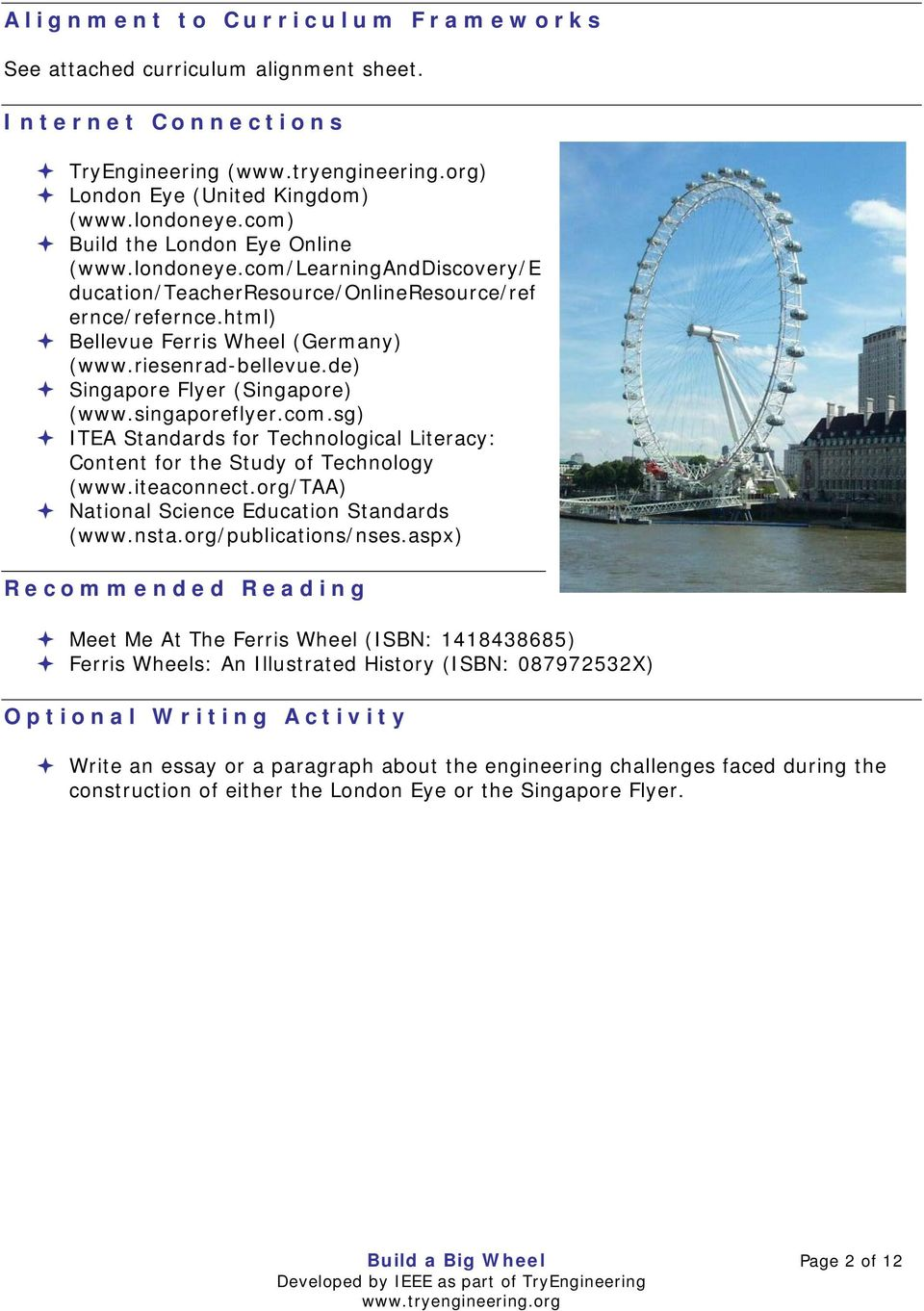 singaporeflyer.com.sg) ITEA Standards for Technological Literacy: Content for the Study of Technology (www.iteaconnect.org/taa) National Science Education Standards (www.nsta.org/publications/nses.