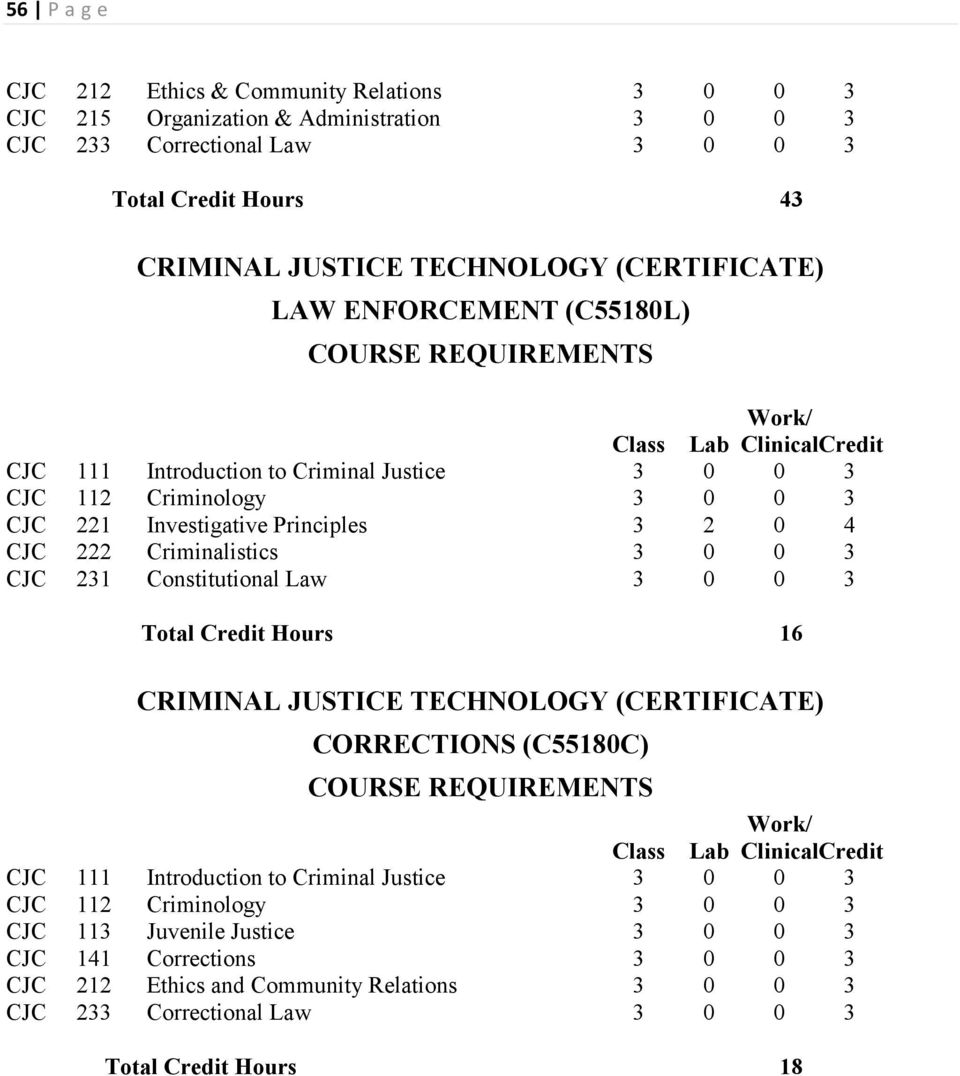 CRIMINAL JUSTICE TECHNOLOGY (CERTIFICATE) CORRECTIONS (C55180C)