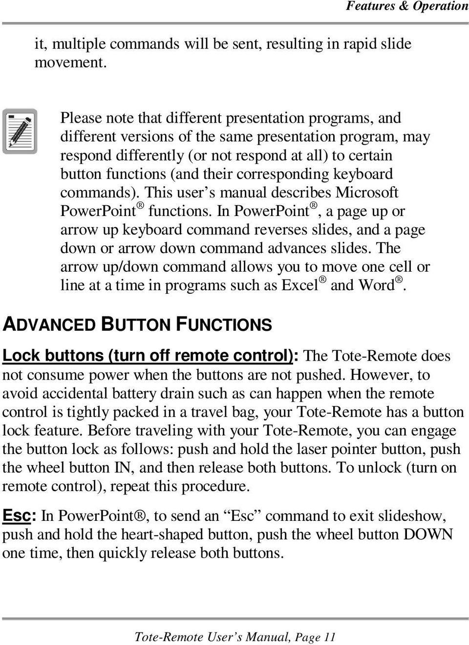 corresponding keyboard commands). This user s manual describes Microsoft PowerPoint functions.