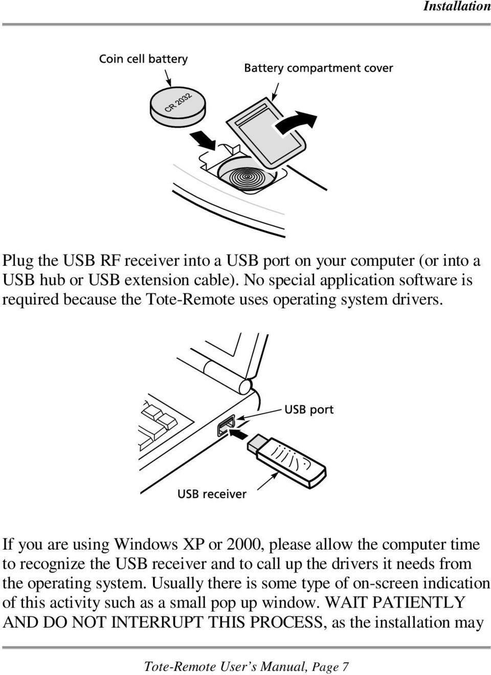 If you are using Windows XP or 2000, please allow the computer time to recognize the USB receiver and to call up the drivers it needs from the
