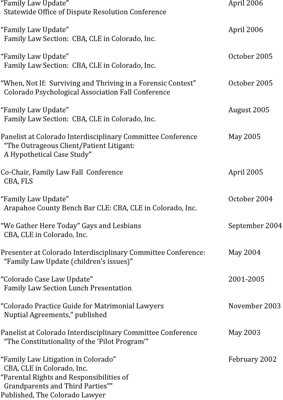 Committee Conference May 2005 The Outrageous Client/Patient Litigant: A Hypothetical Case Study Co Chair, Family Law Fall Conference April 2005 CBA, FLS Family Law Update October 2004 Arapahoe County