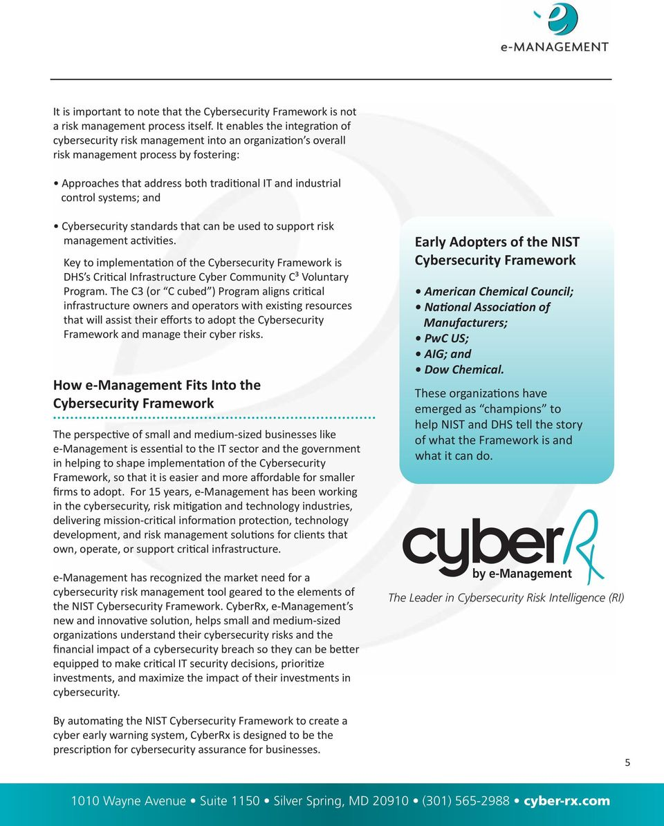 systems; and Cybersecurity standards that can be used to support risk management activities.