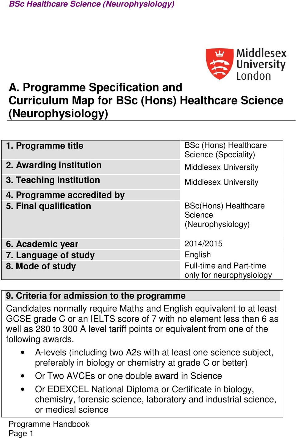 Final qualification BSc(Hons) Healthcare Science (Neurophysiology) 6. cademic year 2014/2015 7. Language of study English 8. Mode of study Full-time and Part-time only for neurophysiology 9.