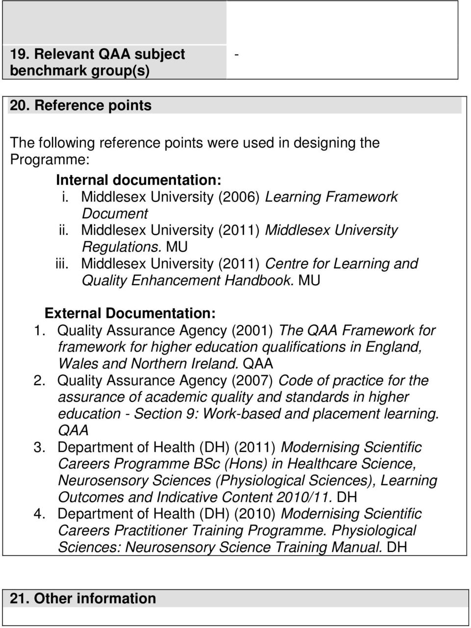 Middlesex University (2011) Centre for Learning and Quality Enhancement Handbook. MU External ocumentation: 1.