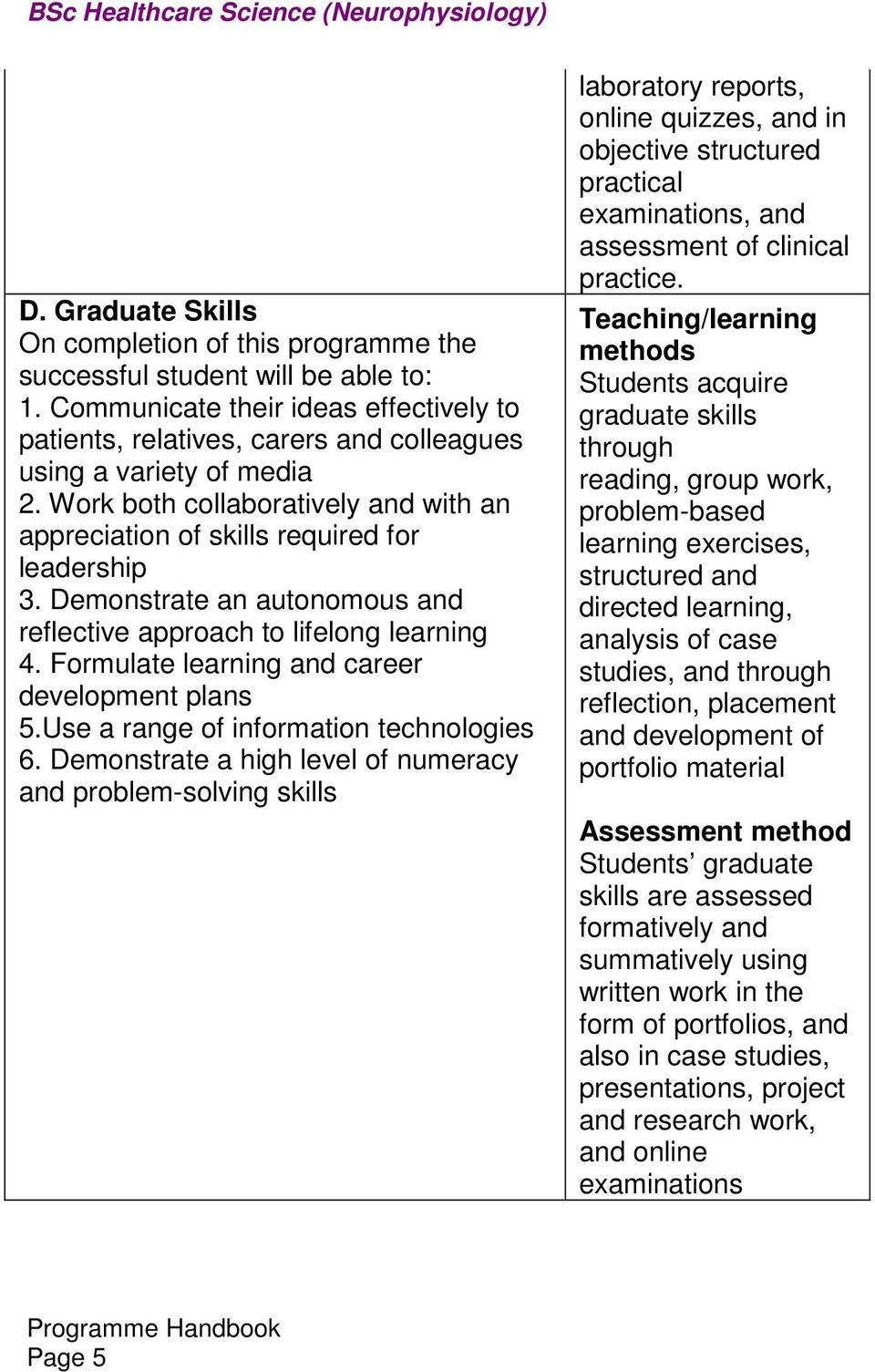 emonstrate an autonomous and reflective approach to lifelong learning 4. Formulate learning and career development plans 5.Use a range of information technologies 6.