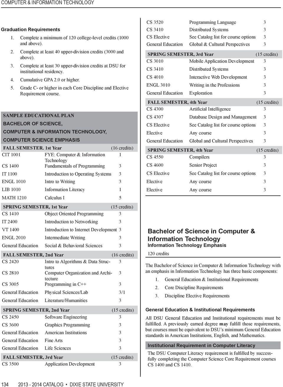 SAMPLE EDUCATIONAL PLAN BACHELOR OF SCIENCE, COMPUTER & INFORMATION TECHNOLOGY, COMPUTER SCIENCE EMPHASIS FALL SEMESTER.