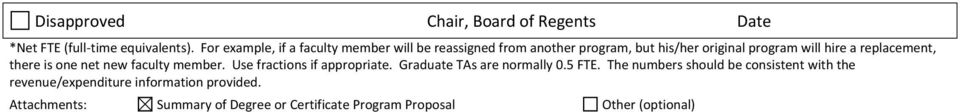 replacement, there is one net new faculty member. Use fractions if appropriate. Graduate TAs are normally 0.5 FTE.