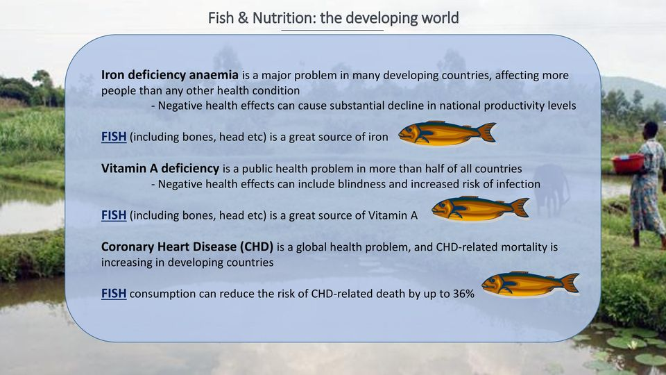 problem in more than half of all countries - Negative health effects can include blindness and increased risk of infection FISH (including bones, head etc) is a great source of