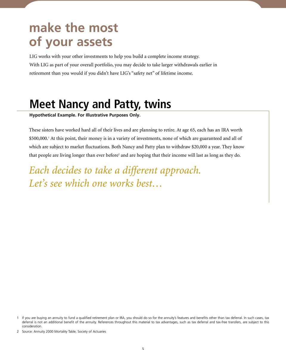 Meet Nancy and Patty, twins Hypothetical Example. For Illustrative Purposes Only. These sisters have worked hard all of their lives and are planning to retire.
