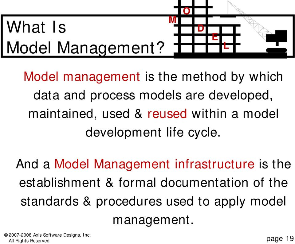 developed, maintained, used & reused within a model development life cycle.