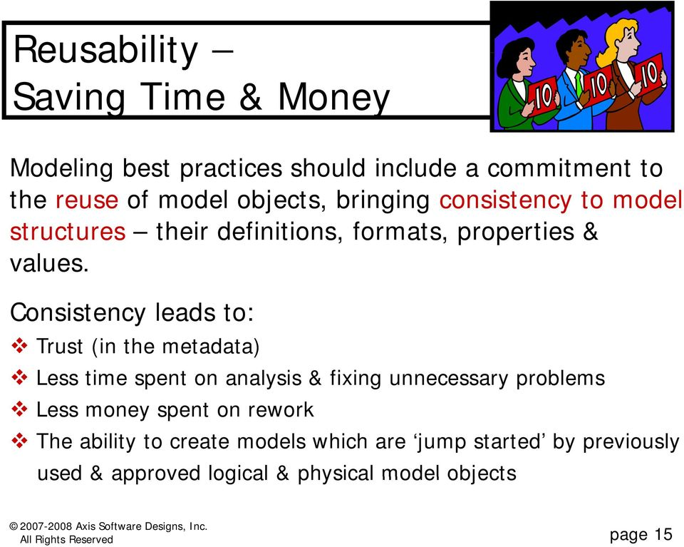 Consistency leads to: Trust (in the metadata) Less time spent on analysis & fixing unnecessary problems Less money spent