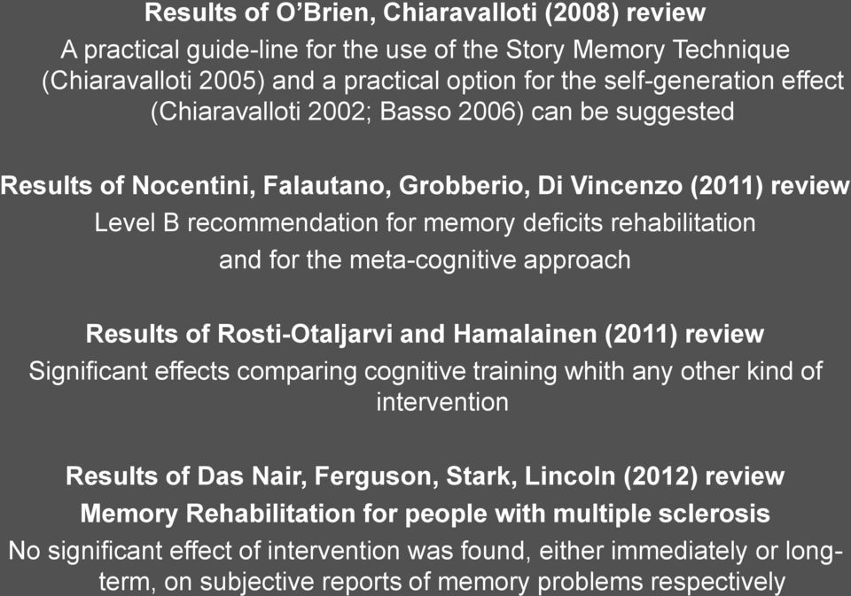 meta-cognitive approach Results of Rosti-Otaljarvi and Hamalainen (2011) review Significant effects comparing cognitive training whith any other kind of intervention Results of Das Nair, Ferguson,