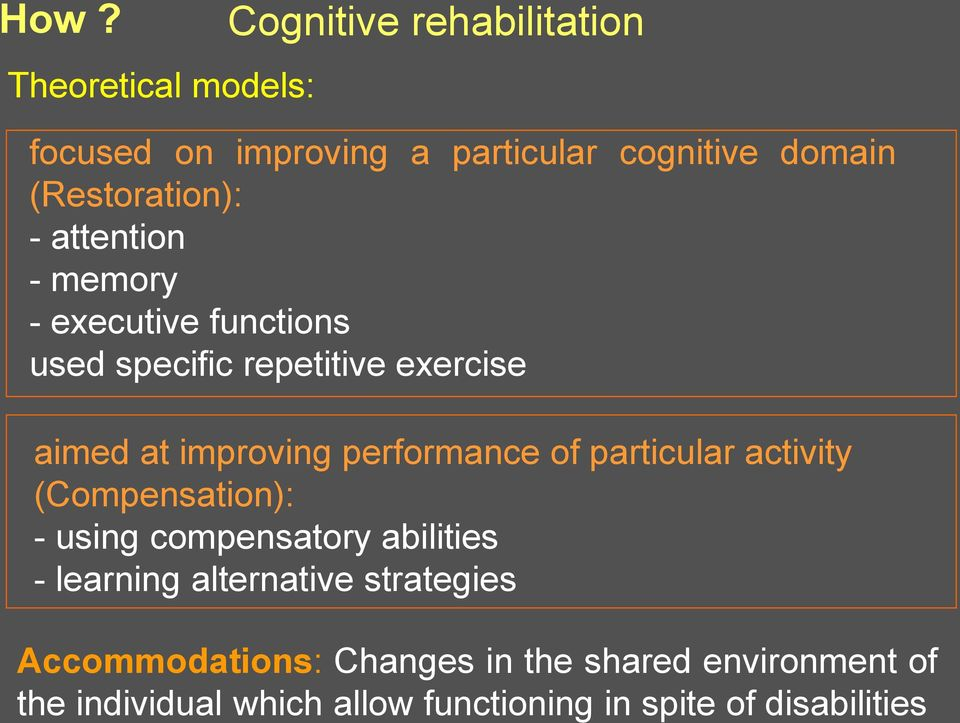 performance of particular activity (Compensation): - using compensatory abilities - learning alternative