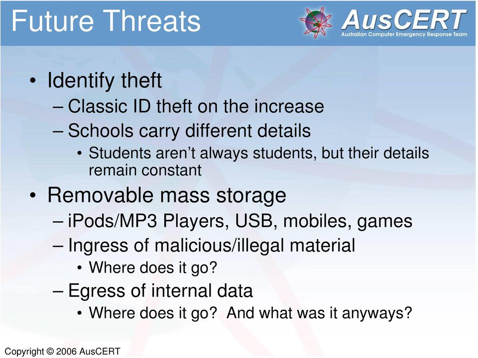 mass storage ipods/mp3 Players, USB, mobiles, games Ingress of malicious/illegal