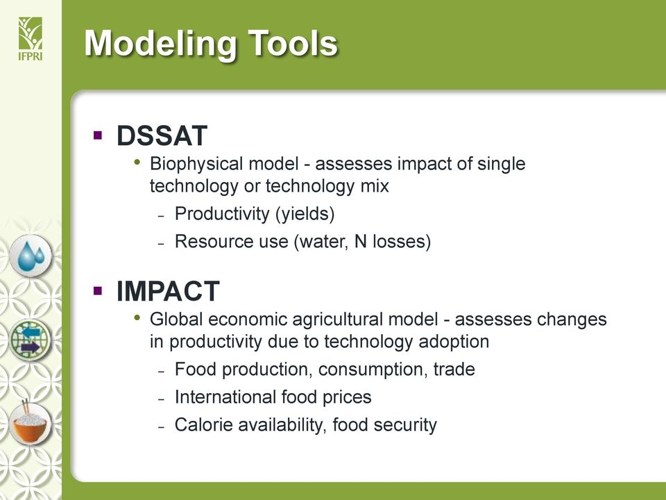 economic agricultural model - assesses changes in productivity due to technology