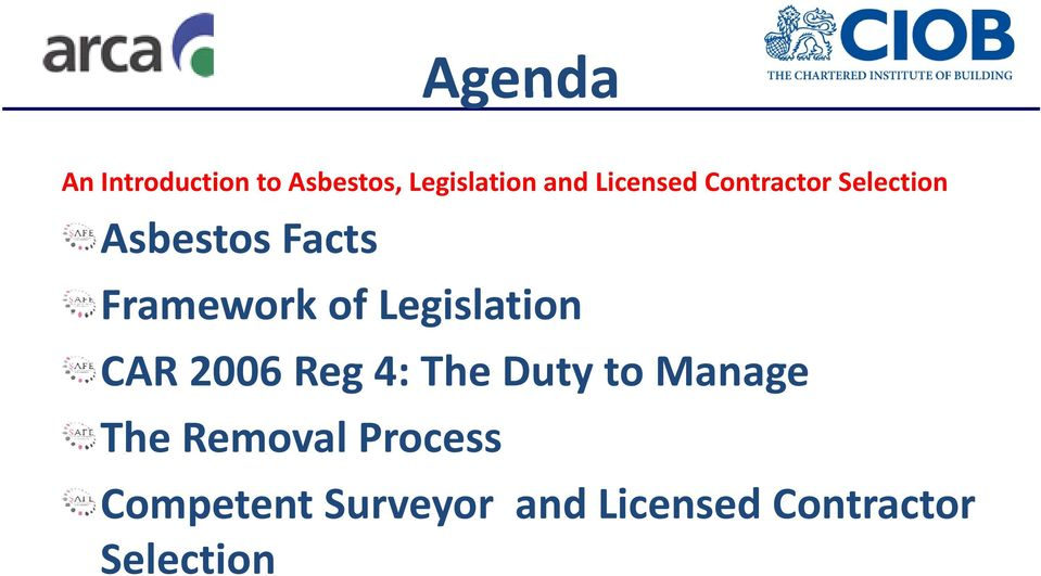 Legislation CAR 2006 Reg 4: The Duty to Manage The