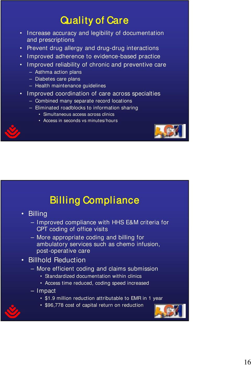 Eliminated roadblocks to information sharing Simultaneous access across clinics Access in seconds vs minutes/hours Billing Compliance Billing Improved compliance with HHS E&M criteria for CPT coding