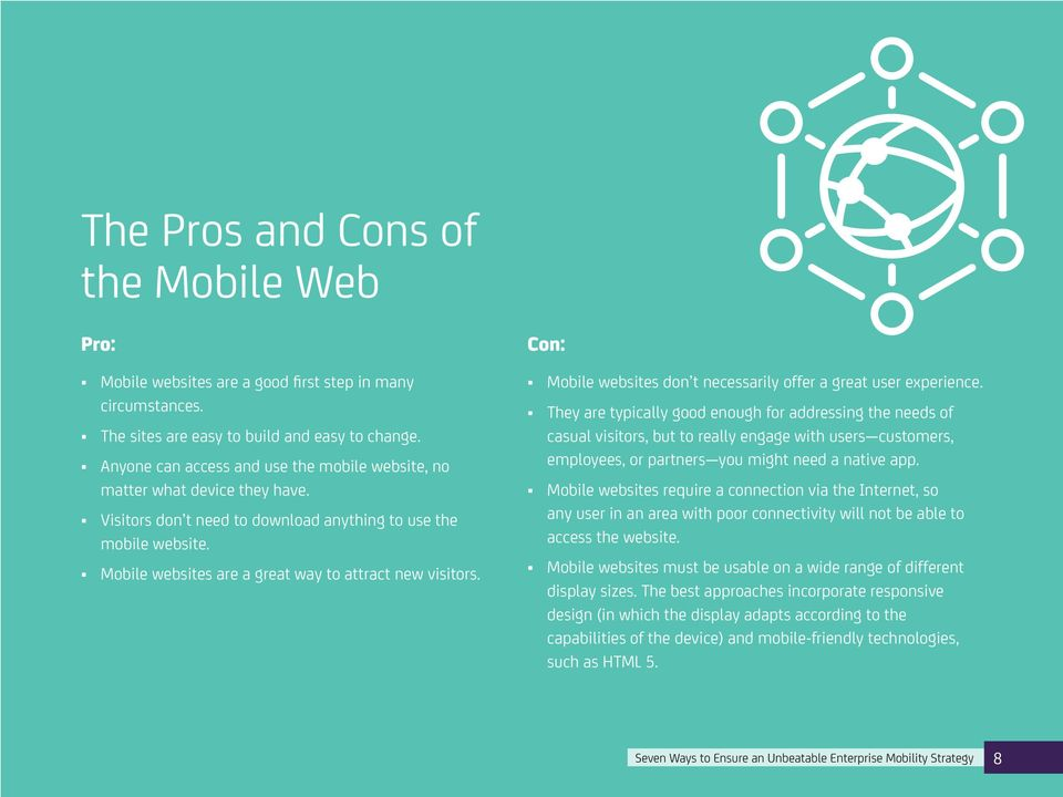 Mobile websites are a great way to attract new visitors. Con: Mobile websites don t necessarily offer a great user experience.