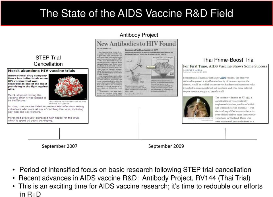 following STEP trial cancellation Recent advances in AIDS vaccine R&D: Antibody Project, RV144