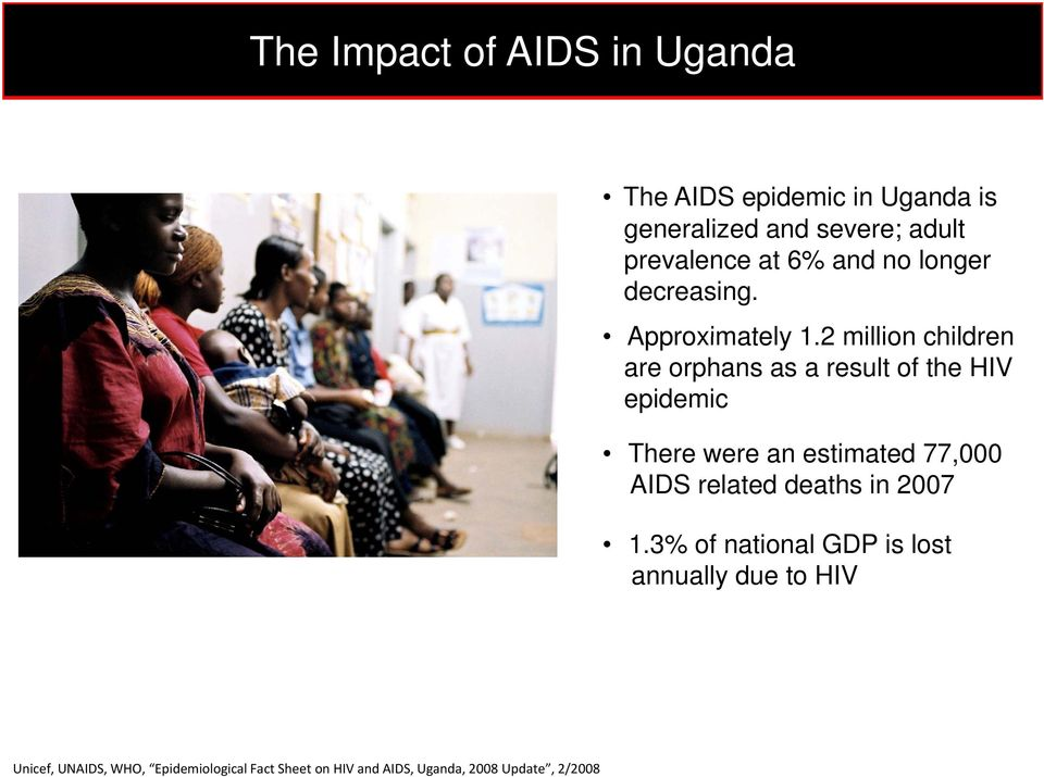 2 million children are orphans as a result of the HIV epidemic There were an estimated t 77,000 AIDS