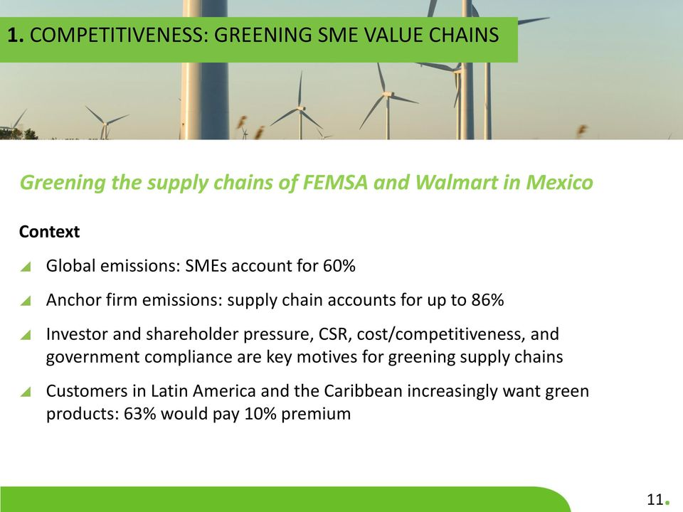 shareholder pressure, CSR, cost/competitiveness, and government compliance are key motives for greening supply