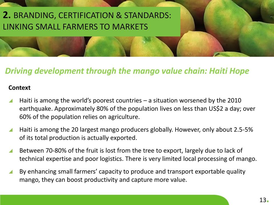 Haiti is among the 20 largest mango producers globally. However, only about 2.5-5% of its total production is actually exported.