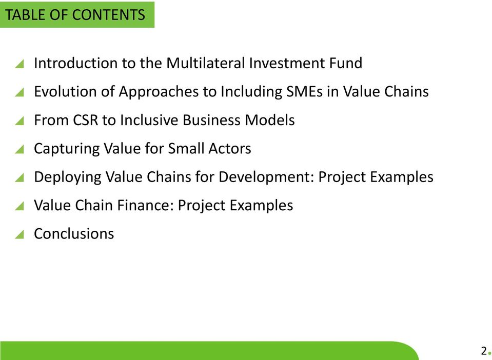 Inclusive Business Models Capturing Value for Small Actors Deploying Value