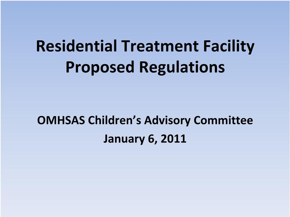 Regulations OMHSAS