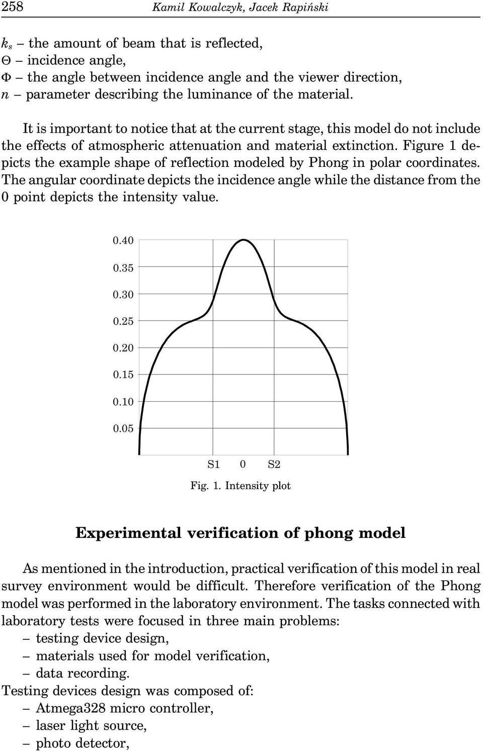 Figure 1 depicts the example shape of reflection modeled by Phong in polar coordinates.