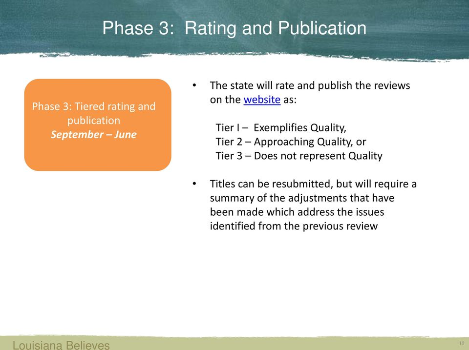 Quality, Tier 2 Approaching Quality, or Tier 3 Does not represent Quality Titles can be resubmitted, but will