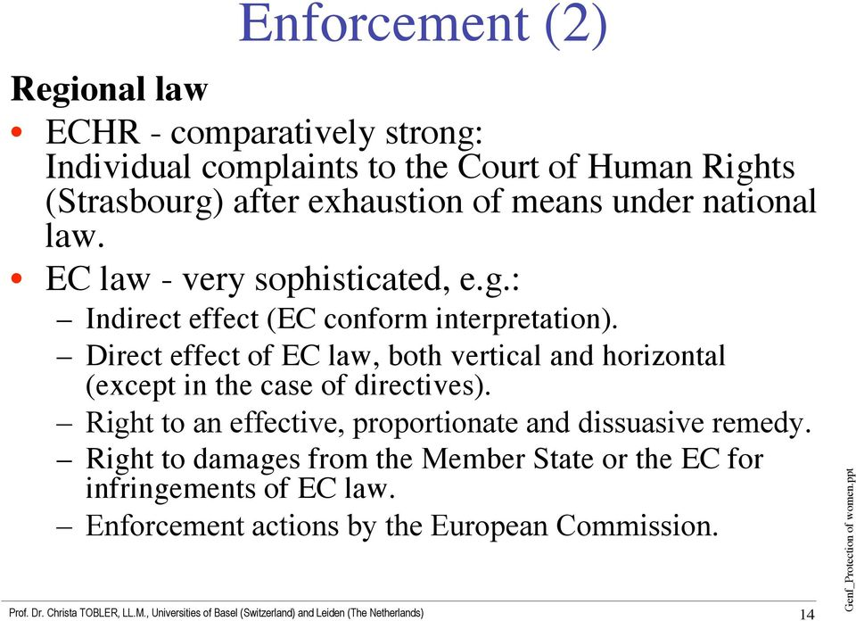 Direct effect of EC law, both vertical and horizontal (except in the case of directives).